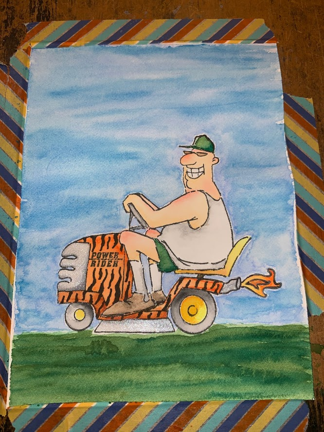Cool Dude on a Mower – 3 Crafting Angels
